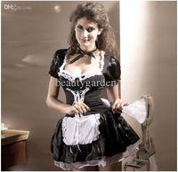 Wholesale Carnival Cuts - Women's Short Sleeves Low-cut Short Skirt Carnival Halloween Maid Dress Waitress Chambermaid Costume NL8181