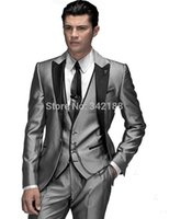 Wholesale-2015 Freies Verschiffen / Bright Silver Bräutigam Smoking / Black Satin Revers Best Man Groomsmen Wedding Männer Klagen / West Hochzeit Anzüge