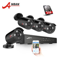 Wholesale Ip Camera Array - ANRAN Plug And Play 4CH NVR 48V POE CCTV System Onvif P2P 1080P HD H.264 Array IR Motion Detection Outdoor Security POE IP Camera Hard Disk