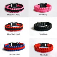 Wholesale Paracord Bracelet Buckles Wholesale - 50pcs Outdoor Bracelet Survival Escape Life-saving Bracelet Paracord Hand Made With Plastic Buckle Mix Color