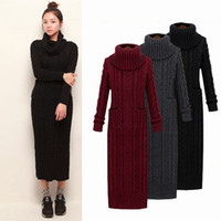 Wholesale Winter Women Dresses Korean Fashion - 2017 new korean Winter Women Sweater Dress Korean High-Necked Long Slim Twist Turtleneck Knitted Sweater Dress Women Winter Dress