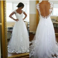 Wholesale Court Wedding Veil - Nicest Wedding Dresses Ever A-line V Neck Sheer Panel Back Court Train Bridal Gowns (Get One Veil Petticoat Petticoat for free) Dhyz 01