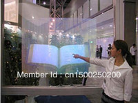 Wholesale Holographic Film For Projection - Wholesale-Free shipping (1m*1.524m) Clear Holographic glass windows film,Adhesive Rear projection screen film for advertisement exhibition