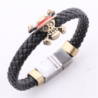 Wholesale pirated movies - Fashion Bracelet ONE PIECE Luffy's Ship pirate Flag Skull leather weave charm bracelets bangel cuff anime jewelry Drop Ship 161059