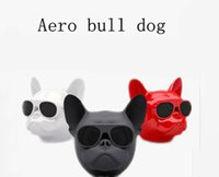 Wholesale Bull Dog Black - Aero Bull dog Portable Wireless Bluetooth Speaker with FM TF card High quality Bulldog Speakers Black Red White free DHL shipping