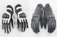 касаться кореи оптовых-2015 новый мотоцикл перчатки сенсорный Корея импортировала натуральная кожа углеродного волокна Moto racing перчатки черный / белый черный цвет размер M / L / XL