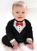 Wholesale Boys Size White Pants - 1pcs newborn Boy Baby Formal Suit Tuxedo Romper Pants Jumpsuit Gentleman Clothes for infant baby romper jumpsuits
