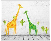 Wholesale Decorative Sticker Giraffe - Cartoon giraffe wall stickers for kids rooms 7035 wall decor removable pvc wall decals decorative DIY