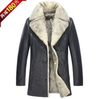 Wholesale White Leather Coats For Men - Fall-Luxury white fur inside jackets wholesale plus size men clothing real leather wolf fur coat for winter