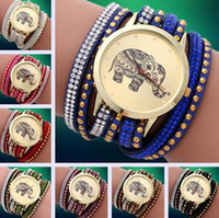 Wholesale Rivet Bracelet Wristband - Vintage elephant multi layers leather band dimond rivet quartz wristwatches bracelet luxury women PUNK wristband watch xmas gift