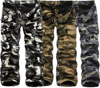 pantalones de trekking tácticos al por mayor-Pantalones de entrenamiento pantalones de los hombres de camuflaje táctico de carga al aire libre de los hombres de combate del Ejército Senderismo Pantalones buscan al aire libre Deporte