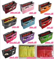 legen sie handtaschenorganisator ein großhandel-Portable Double Zipper Bag Einfügen Liner Geldbörse Organizer Handtasche Frauen Reisen Geldbörse Tasche in Tasche Organizer Cosmetics Storage HOT193