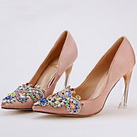 Wholesale Apricot Pointed Heels Pumps Shoes - High Quality Satin Women Pumps Pointed Toe High Heels Bridal Apricot Satin Rhinestone Shoes Fashion Design Evening Party Shoes