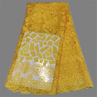 alta classe vestidos de festa venda por atacado-Tecido de rendas solúvel em água francês de design de vestuário de alta qualidade material agradável para vestido de festa EW46 multi cor à venda