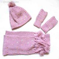 lenços de lã de lã venda por atacado-Atacado-cachecol chapéu luva set acessórios 2016 marca inverno luva knited chapéu lã quente acrílico moda mulheres cachecol chapéu luva conjunto