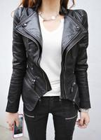 Wholesale Shrug Pads - Wholesale-Women Spliced Snake Pattern Shrug Shoulder Pads Double Lapels Zipper Exposed Asymmetric Faux Leather Biker Jacket