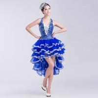vestido de baile latino de rendimiento de las mujeres al por mayor-Últimas mujeres supre vestido de baile latino lentejuelas vestido rendimiento ropa danza moderna trajes de baile de jazz