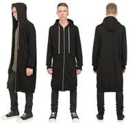 Wholesale Hoodies Leather Men - Hip Hop Fashion Long Design Zipper Men Hoodies  Faux PU Leather Sleeve Men Jacket   Removable Sleeveless Extended Pocket Black Men Outerwear