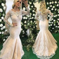 Wholesale Cover Overlay - Sexy Illusion Long Sleeve Mermaid Evening Dresses Jewel Lace Overlay Women Plus Size Prom Party Gown Formal Pageant Wear vestido de novia