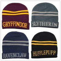 Wholesale Knited Winter Hat - Harry Potter Hat School Unisex Knited hats Cosplay Costume Warm Stripe hats Christmas gift hat LA156-8