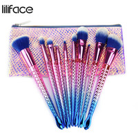 Wholesale best professional cosmetic brush set for sale - Group buy Mermaid Makeup Brushes Set Plating Handle Professional Best Foundation Eyeshadow Blush Cosmetics Beauty Fish Scales Make Up Brush Kits