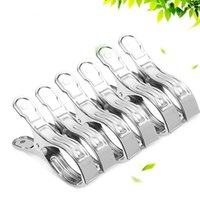 Wholesale Windproof Clothes Pegs - Non Deforming Clothes Clips Windproof Smooth Pinch Design Pegs Hanging Round Hole Stainless Steel Drying Was Caught Hanger Silver 0 5fw B