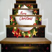 6pcs / set 18cm x 100cm Anello regalo con cime di Buon Natale stile scale Sticker Wall Decor casa murale LTT082