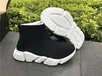 Wholesale pink blue baby socks for sale - Fashion Kids Socks Boots Children High Top Athletic Shoes Baby Slip On Casual Flats Speed Trainer Running Shoes Black Blue Red Orange