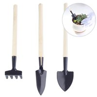 Wholesale Garden Hand Tools Sets - 3Pcs set Mini Garden Hand Tool Kit Plant Gardening Shovel Spade Rake Trowel Wood Handle Metal Head Gardener free shipping