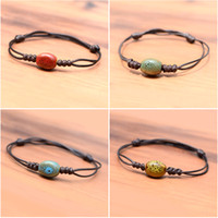 Wholesale Cheap Heart Chain Bracelet - 50Pcs Lot Cheap Single Colored Ceramics Bead Handcrafted Bracelets Women Men Braided Rope Adjusted Trendy Fashion Jewelry New