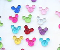 Wholesale Mouse Cabochons - 600pcs mix color resin mini micky Mouse Flatbacks rhinestone cabochons flat back decoden supplies dotted gem