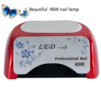 Wholesale High Power Uv Nail Lamp - Unique Red 48W nail lamp UV LED&CCFL high power Polish Dryer Light Lamp Curing Tool stock in US DE