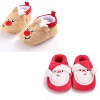 Wholesale Soft Soled Shoes Cloth - Baby slip-on soft sole shoes Infants Christmas cartoon cloth shoes Santa Claus Elk prewalkers for boys girls Newborns Xmas Costume props 0-2