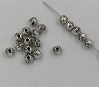 Wholesale Old Flower Plates - New Old Silver Plated Flower Round Loose Beads 6MM1 (00884)