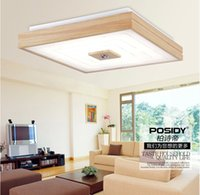 Wholesale Ceiling Lights Square Wood - Wholesale-2015 New Square design simple modern wood led ceiling lights for bedroom decorative lighting small home living room ceiling lamp
