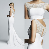 2015 Best Seller Pure White Mermaid Sweep Modest Prom Dresses Crew sem mangas Zipper Voltar Vintage Prom Dresses Beaded Ruched Evening Dresses