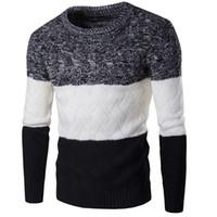 ropa coreana hombres nuevo estilo al por mayor-Nuevos hombres del estilo suéter de invierno marca marca tejer manga larga del o-cuello delgado ropa de moda coreana hombres suéter M-2XL