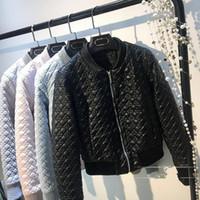 kapitone kısa ceket kadın toptan satış-2017 Sonbahar ve kışPlaid kısa deri ceket kapitone bayanlar ince kapitone deri kadın PU