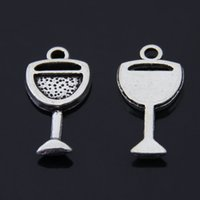 Wholesale Silver Charm Wine Glass - Free Shipping 60pcs lot Goblet Wine Glass cup charm pendant 20*11mm antique silver fit necklace diy metal jewelry making