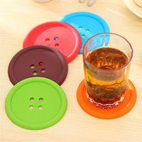 Wholesale Silicone Rubber Coaster - 2015 Cute Colorful Round Silicone Button Cup Cushion Home Drink Placemat Holder Drink Tableware Coaster Mat Pads Creative Household Supplies