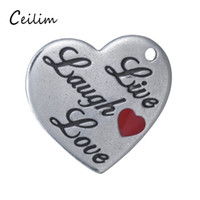 Wholesale Word Love Pendant - Cute Stainless Steel Enamel Heart Shape Live Laugh Love Word Charms For Jewelry Making Supplies DIY Floating Bracelets & Necklace Pendant