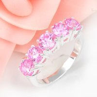 Wholesale Kunzite Rings Sterling Silver - Half Dozen Valentine Gift Fire Pink Kunzite Crystal Gemstone Russia 925 Sterling Silver Plated Weddiing Ring