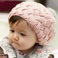 Wholesale Babies Autumn Berets - baby girl kids knit crochet hat cap crochet beret beanie rhombus cute princess handmade hat knitting cap High Quality 5