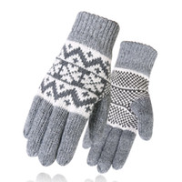 King Star Men Winter Warm Guanti a maglia Snowflake Mittens Windproof Fleece Lined Wool Guanti spessi per gli sport all'aria aperta Driving Hiking