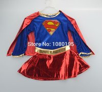 Wholesale Sexy Costume Super - Wholesale-child supergirl Sexy girl super hero costume cosplay party for super girl costume CO40129