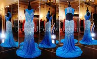 2016 Bling Royal Blue Lange Meerjungfrau Prom Kleider Sheer Neck Open Rhinestones Open Back Prom Dressess Abendkleider