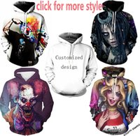 Wholesale Plus Size White Sweater - New Fashion Couples Men Women Unisex Joker Suicide Squad Clown 3D Print Hoodies Sweater Sweatshirt Jacket Pullover Top S-6XL TT144