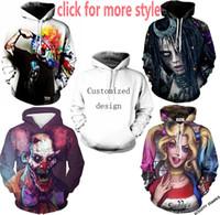 Wholesale Clown Jacket - New Fashion Couples Men Women Unisex Joker Suicide Squad Clown 3D Print Hoodies Sweater Sweatshirt Jacket Pullover Top S-6XL TT144