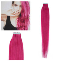 Wholesale free set hair extensions resale online - A quot quot Human hair PU EMY Tape Skin Hair Extensions g g set pink DHL free