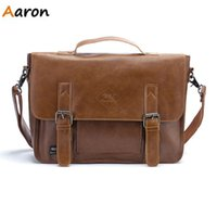 Atacado-Aaron - 2015 Brand New Moda Men's Shoulder Bag, Simple Vintage Couro Mens Messenger Bag, Estilo Coreano Cool Bag Bolsa Masculina